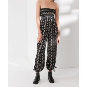 Urban outfitters smocked strapless tribal jumpsuit